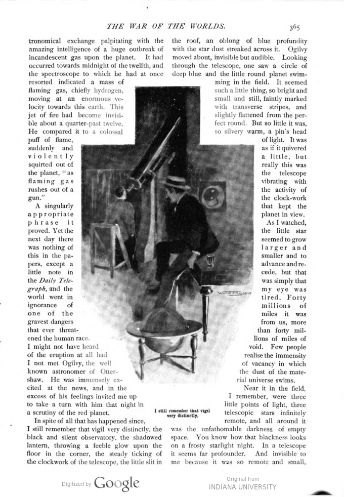 This image is a facsimile of page 365 of the first installment of The War of the Worlds as it was published in Pearson's Magazine in April of 1897.