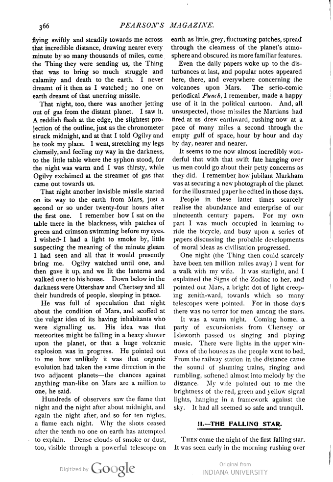This image is a facsimile of page 366 of the first installment of The War of the Worlds as it was published in Pearson's Magazine in April of 1897.