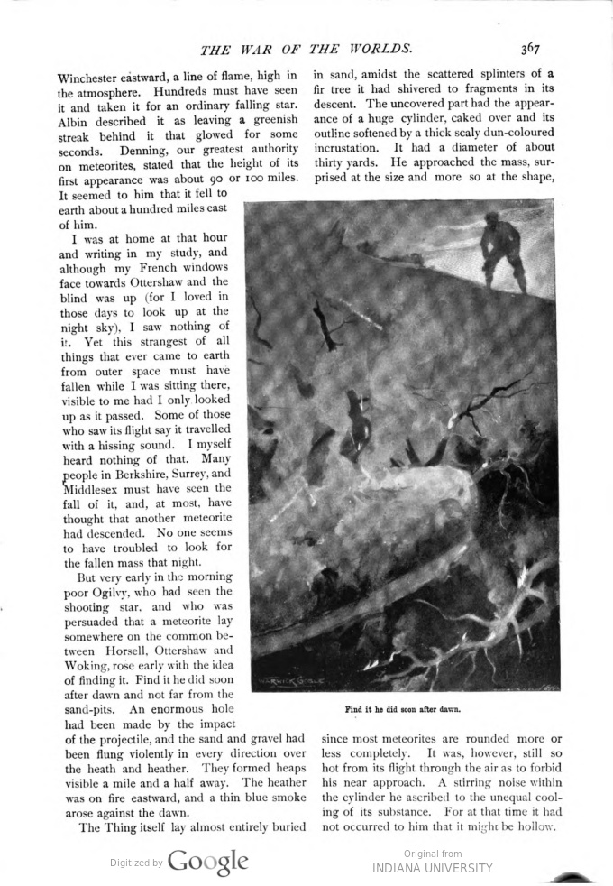 This image is a facsimile of page 367 of the first installment of The War of the Worlds as it was published in Pearson's Magazine in April of 1897.
