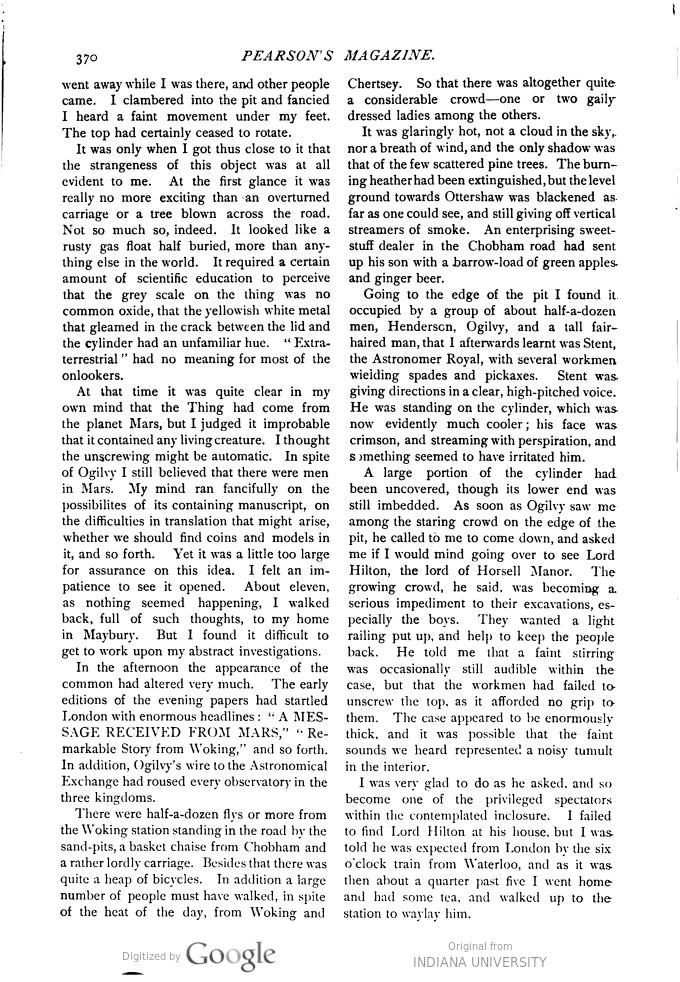 This image is a facsimile of page 370 of the first installment of The War of the Worlds as it was published in Pearson's Magazine in April of 1897.