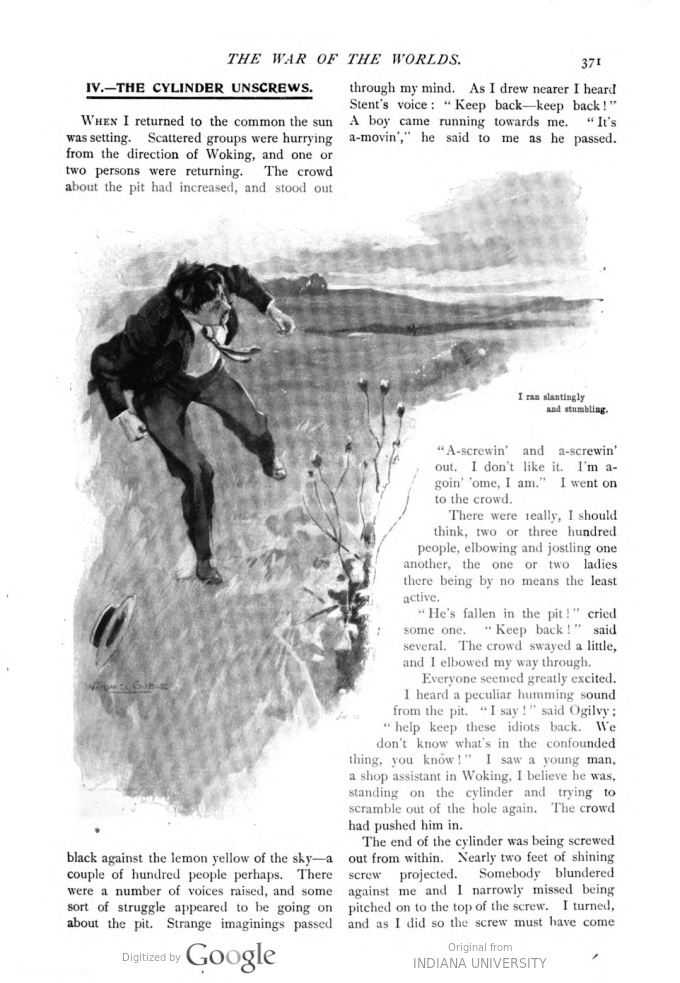 This image is a facsimile of page 371 of the first installment of The War of the Worlds as it was published in Pearson's Magazine in April of 1897.