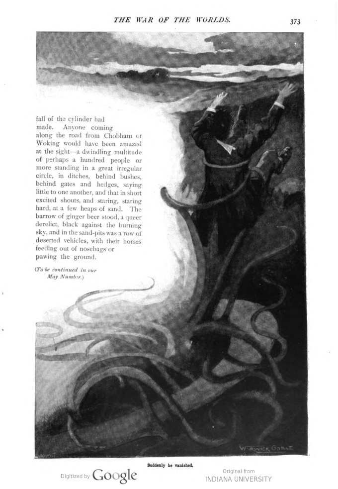 This image is a facsimile of page 373 of the first installment of The War of the Worlds as it was published in Pearson's Magazine in April of 1897.