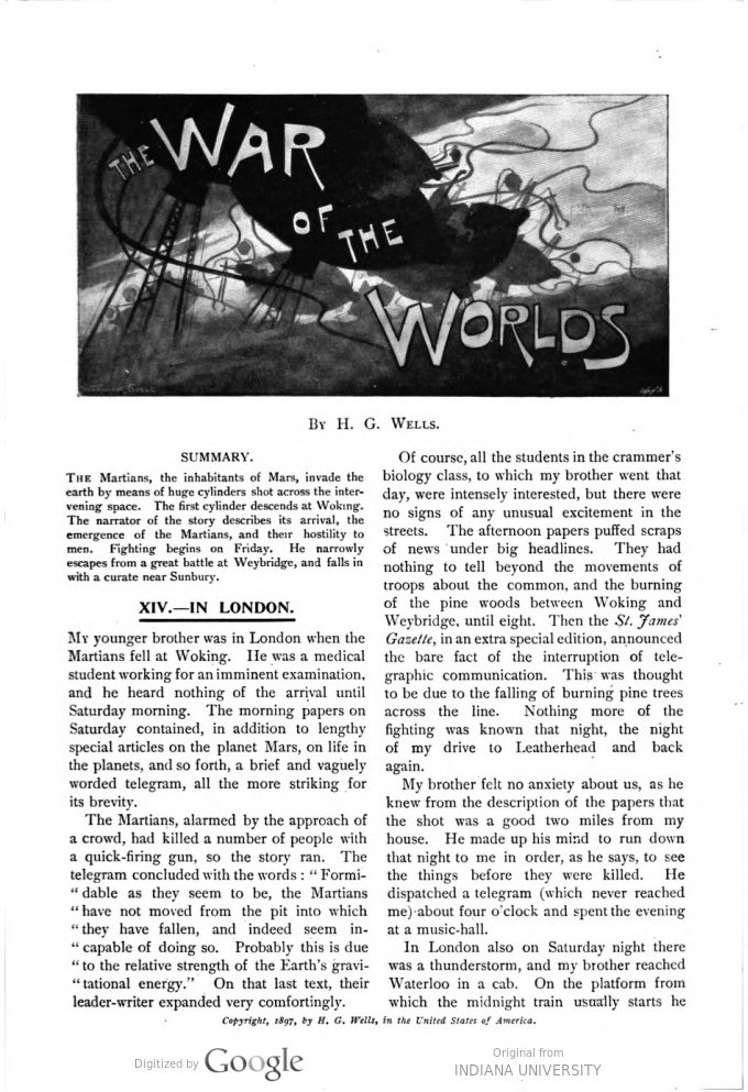 This image is a facsimile of page 221 of the fifth installment of The War of the Worlds as it was published in Pearson's Magazine in August of 1897.