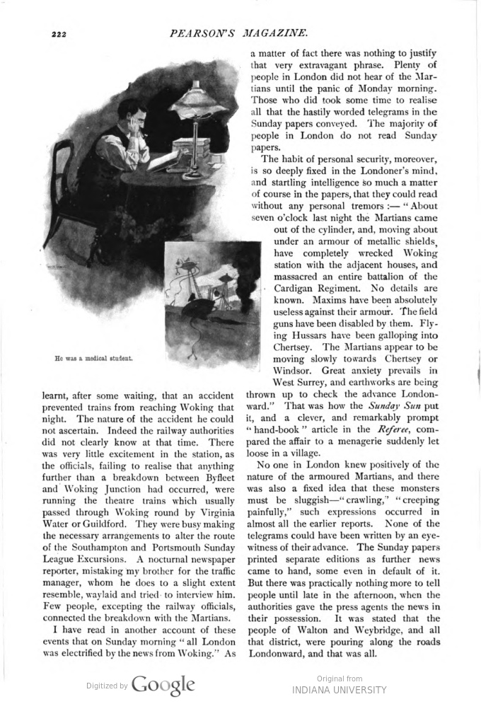 This image is a facsimile of page 222 of the fifth installment of The War of the Worlds as it was published in Pearson's Magazine in August of 1897.