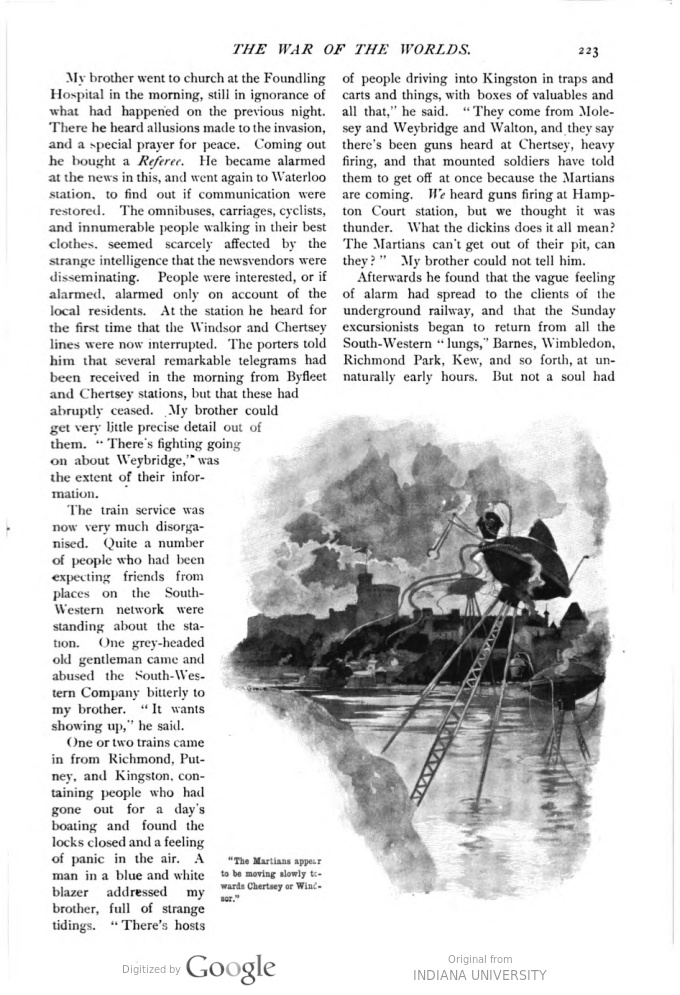 This image is a facsimile of page 223 of the fifth installment of The War of the Worlds as it was published in Pearson's Magazine in August of 1897.