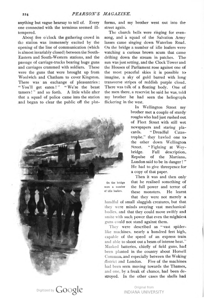 This image is a facsimile of page 224 of the fifth installment of The War of the Worlds as it was published in Pearson's Magazine in August of 1897.