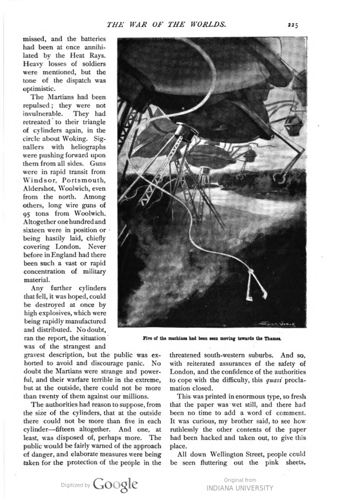 This image is a facsimile of page 225 of the fifth installment of The War of the Worlds as it was published in Pearson's Magazine in August of 1897.