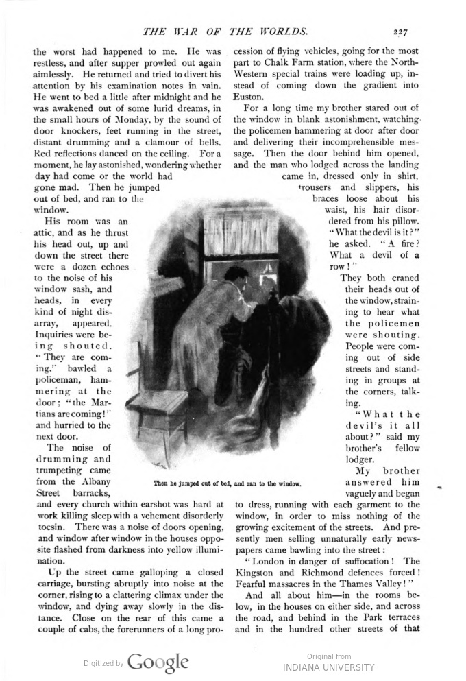 This image is a facsimile of page 227 of the fifth installment of The War of the Worlds as it was published in Pearson's Magazine in August of 1897.