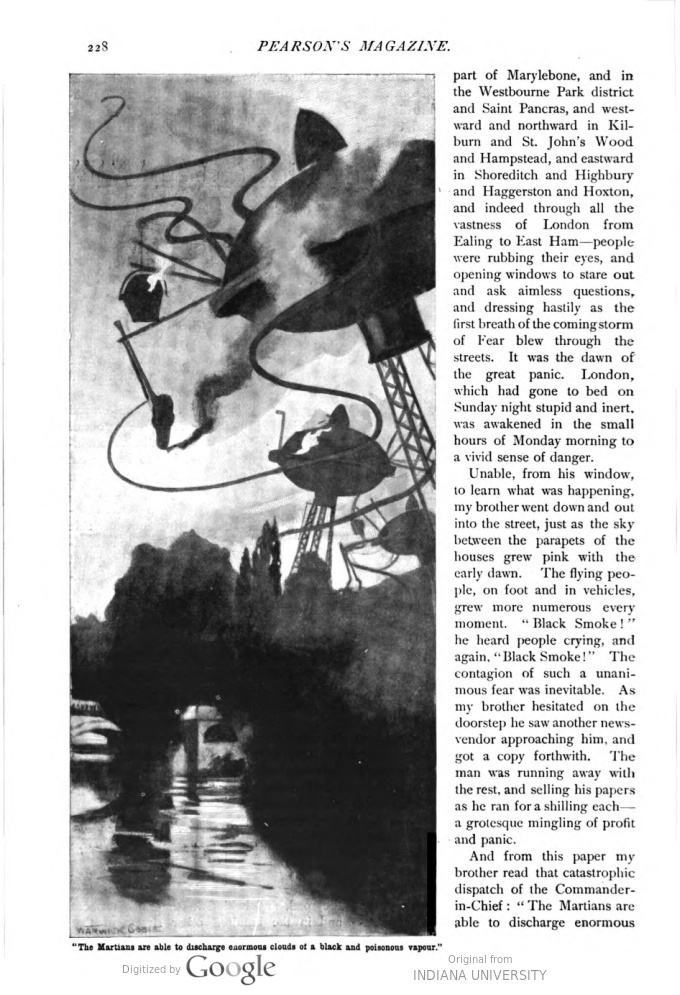 This image is a facsimile of page 228 of the fifth installment of The War of the Worlds as it was published in Pearson's Magazine in August of 1897.