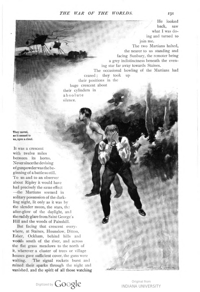 This image is a facsimile of page 231 of the fifth installment of The War of the Worlds as it was published in Pearson's Magazine in August of 1897.