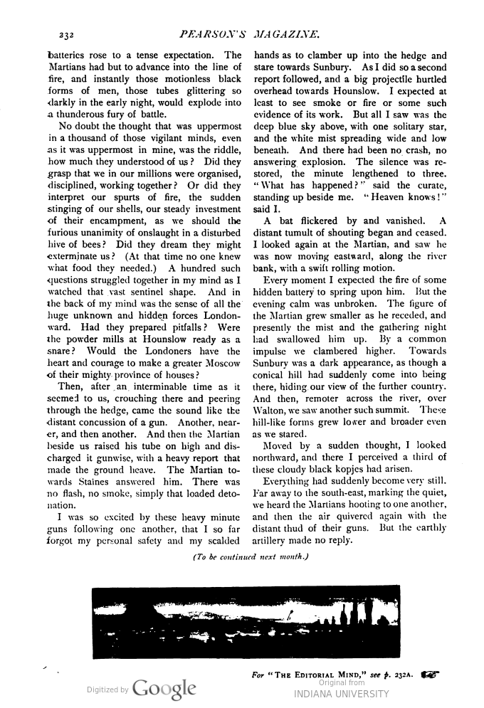 This image is a facsimile of page 232 of the fifth installment of The War of the Worlds as it was published in Pearson's Magazine in August of 1897.