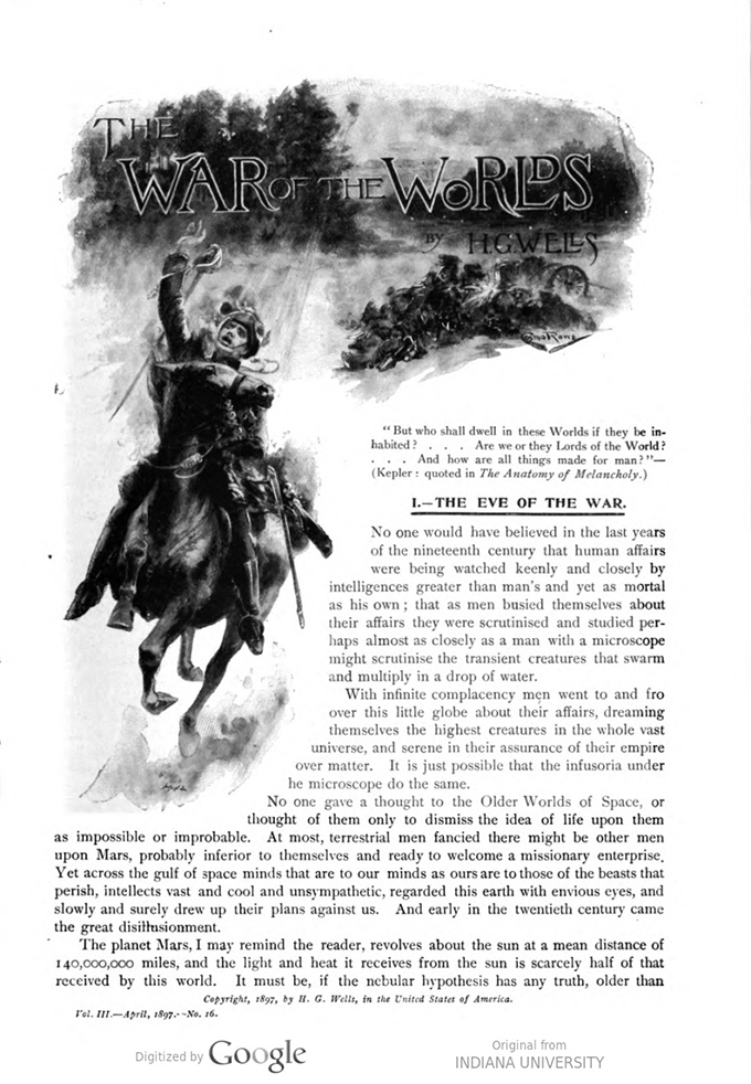 This image is a facsimile of page 363 of the first installment of The War of the Worlds as it was published in Pearson's Magazine in April of 1897.