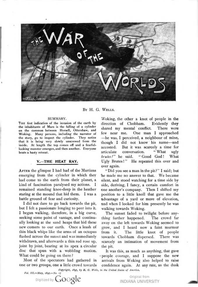 This image is a facsimile of page 487 of the second installment of The War of the Worlds as it was published in Pearson's Magazine in May of 1897.