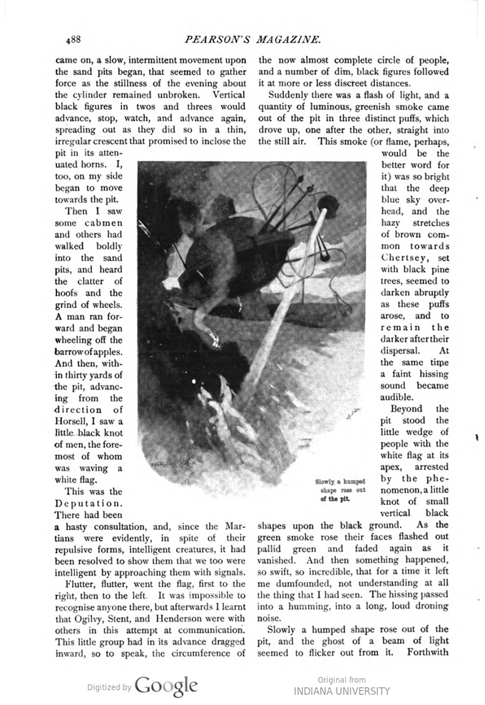 This image is a facsimile of page 488 of the second installment of The War of the Worlds as it was published in Pearson's Magazine in May of 1897.