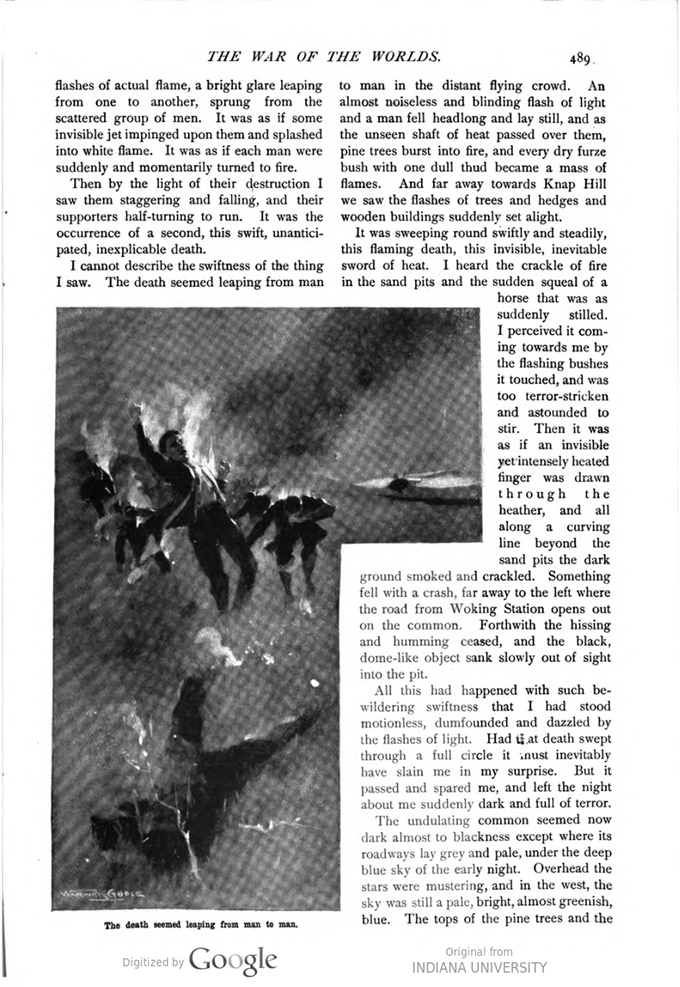 This image is a facsimile of page 489 of the second installment of The War of the Worlds as it was published in Pearson's Magazine in May of 1897.