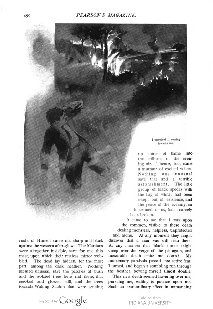 This image is a facsimile of page 490 of the second installment of The War of the Worlds as it was published in Pearson's Magazine in May of 1897.