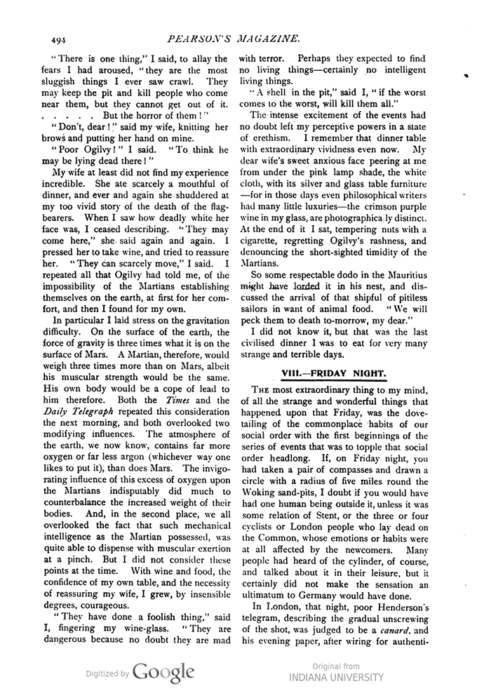 This image is a facsimile of page 494 of the second installment of The War of the Worlds as it was published in Pearson's Magazine in May of 1897.