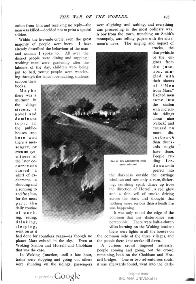 This image is a facsimile of page 495 of the second installment of The War of the Worlds as it was published in Pearson's Magazine in May of 1897.