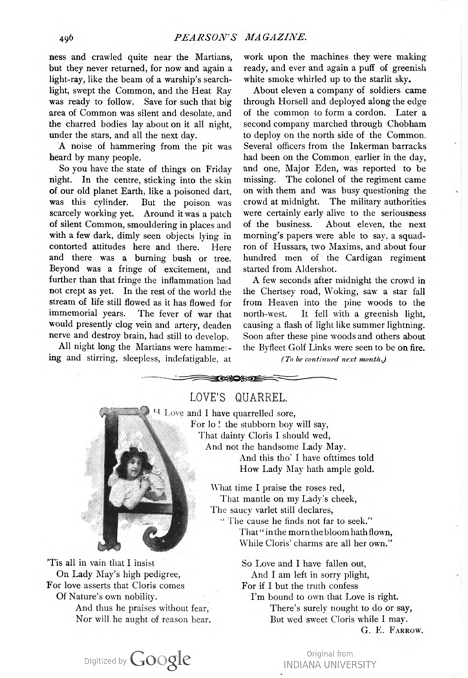 This image is a facsimile of page 496 of the second installment of The War of the Worlds as it was published in Pearson's Magazine in May of 1897.