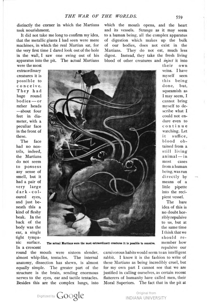 This image is a facsimile of page 559 of the eighth installment of The War of the Worlds as it was published in Pearson's Magazine in November of 1897.