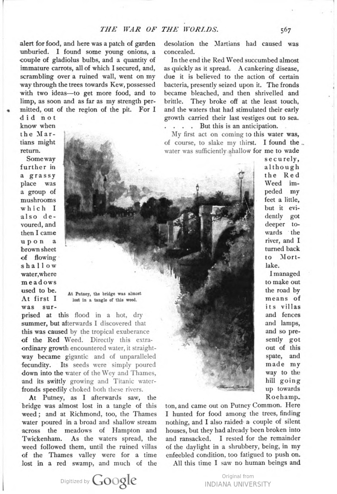 This image is a facsimile of page 567 of the eighth installment of The War of the Worlds as it was published in Pearson's Magazine in November of 1897.