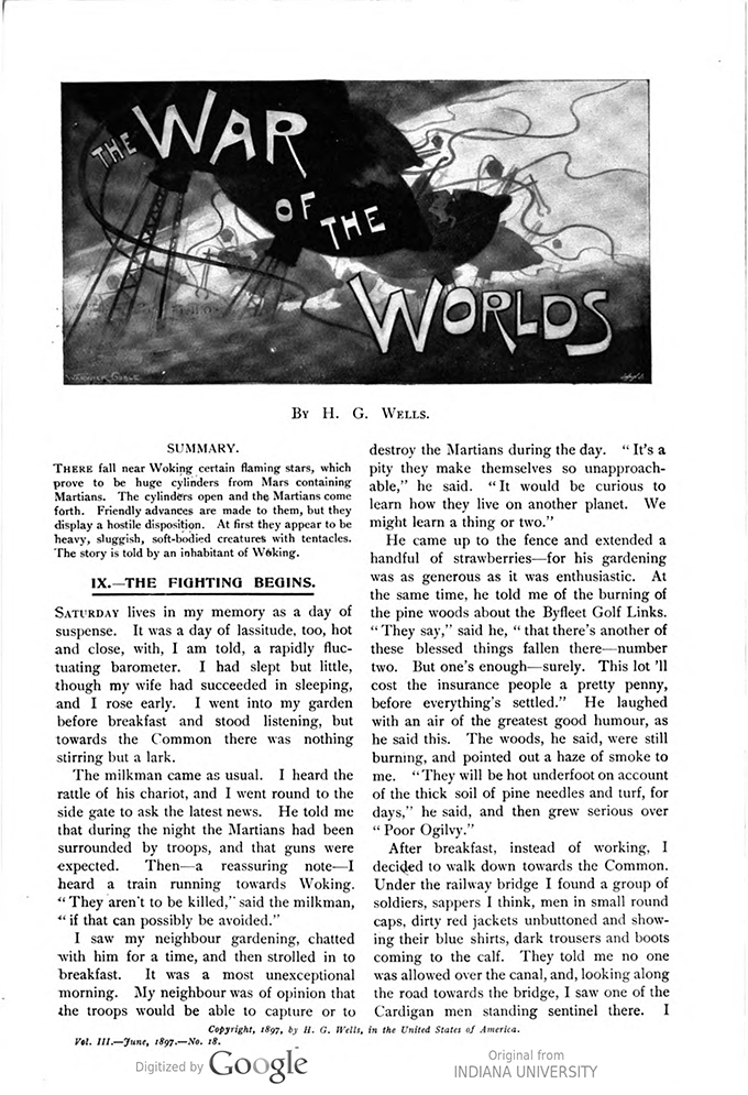 This image is a facsimile of page 599 of the third installment of The War of the Worlds as it was published in Pearson's Magazine in June of 1897.
