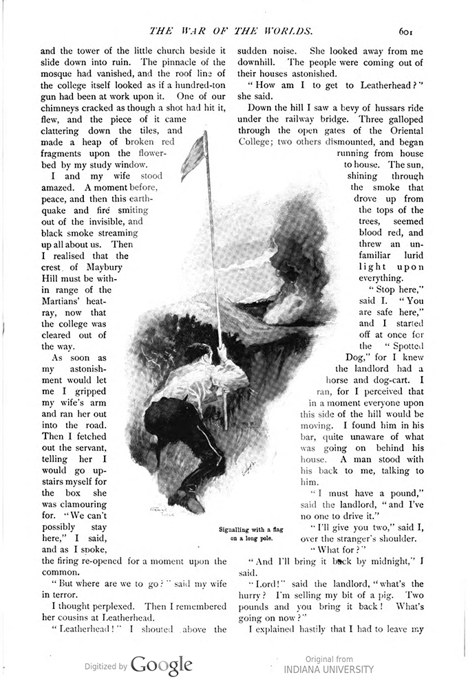 This image is a facsimile of page 601 of the third installment of The War of the Worlds as it was published in Pearson's Magazine in June of 1897.