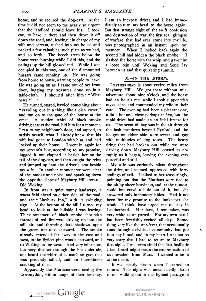 This image is a facsimile of page 602 of the third installment of The War of the Worlds as it was published in Pearson's Magazine in June of 1897.