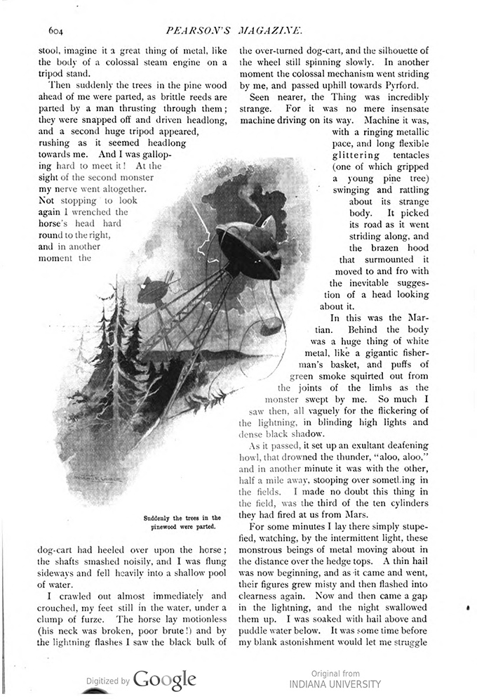 This image is a facsimile of page 604 of the third installment of The War of the Worlds as it was published in Pearson's Magazine in June of 1897.