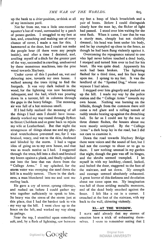 This image is a facsimile of page 605 of the third installment of The War of the Worlds as it was published in Pearson's Magazine in June of 1897.
