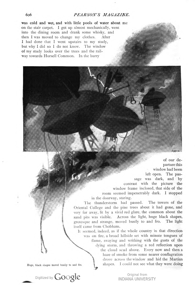 This image is a facsimile of page 606 of the third installment of The War of the Worlds as it was published in Pearson's Magazine in June of 1897.