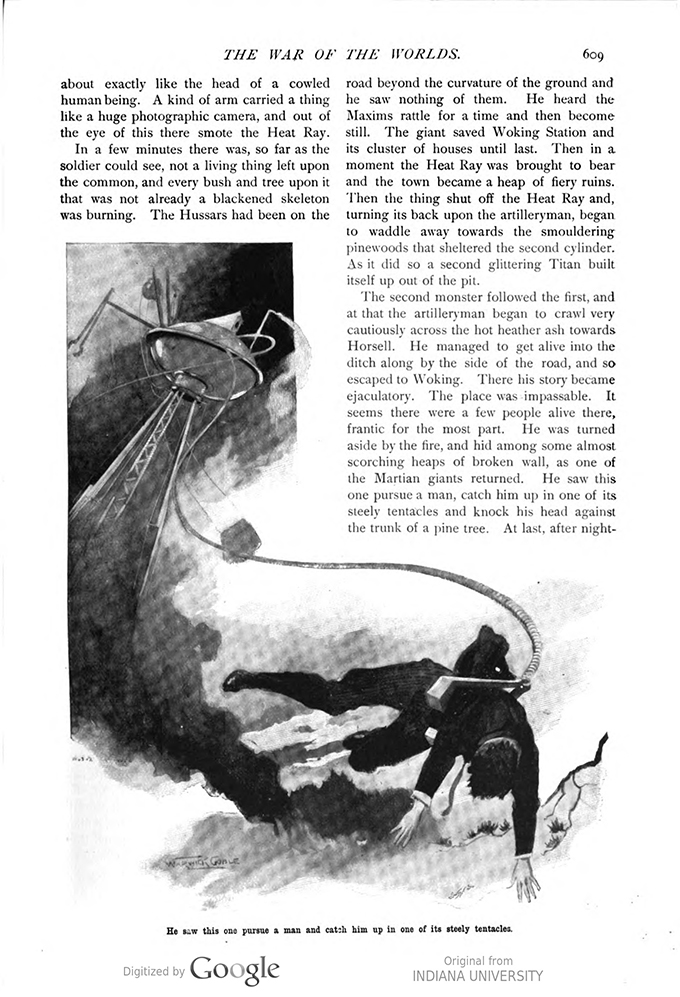 This image is a facsimile of page 609 of the third installment of The War of the Worlds as it was published in Pearson's Magazine in June of 1897.