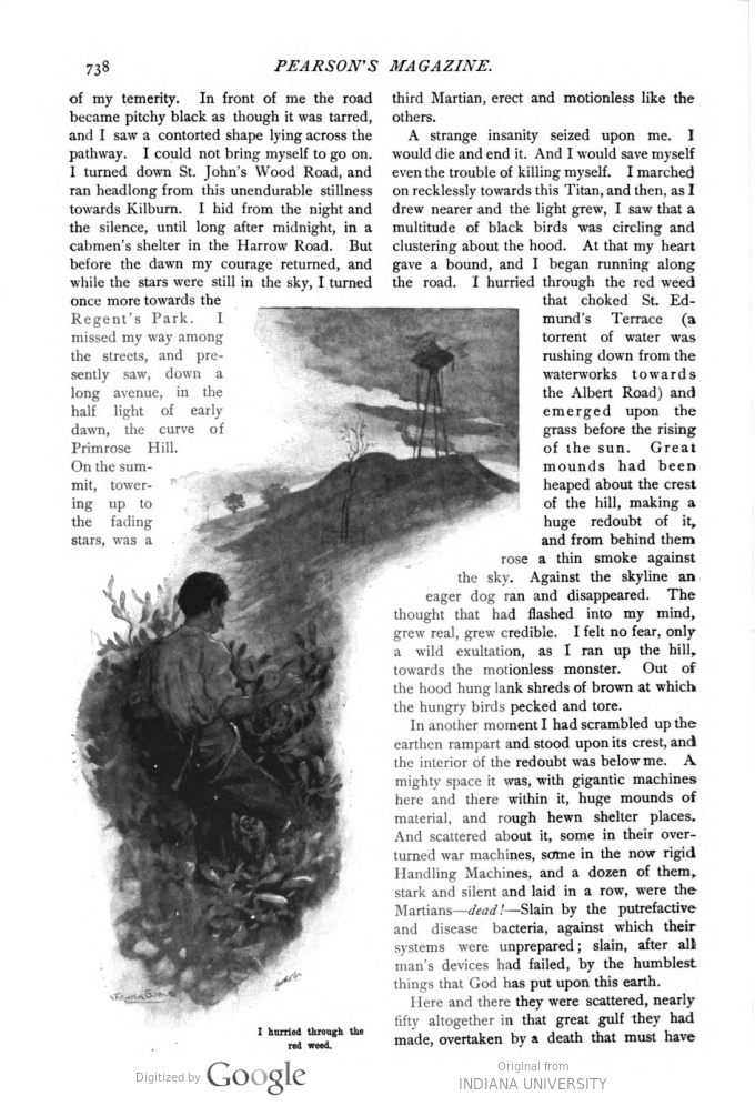 This image is a facsimile of page 738 of the ninth installment of The War of the Worlds as it was published in Pearson's Magazine in December of 1897.
