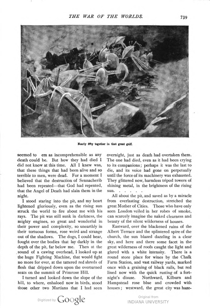 This image is a facsimile of page 739 of the ninth installment of The War of the Worlds as it was published in Pearson's Magazine in December of 1897.