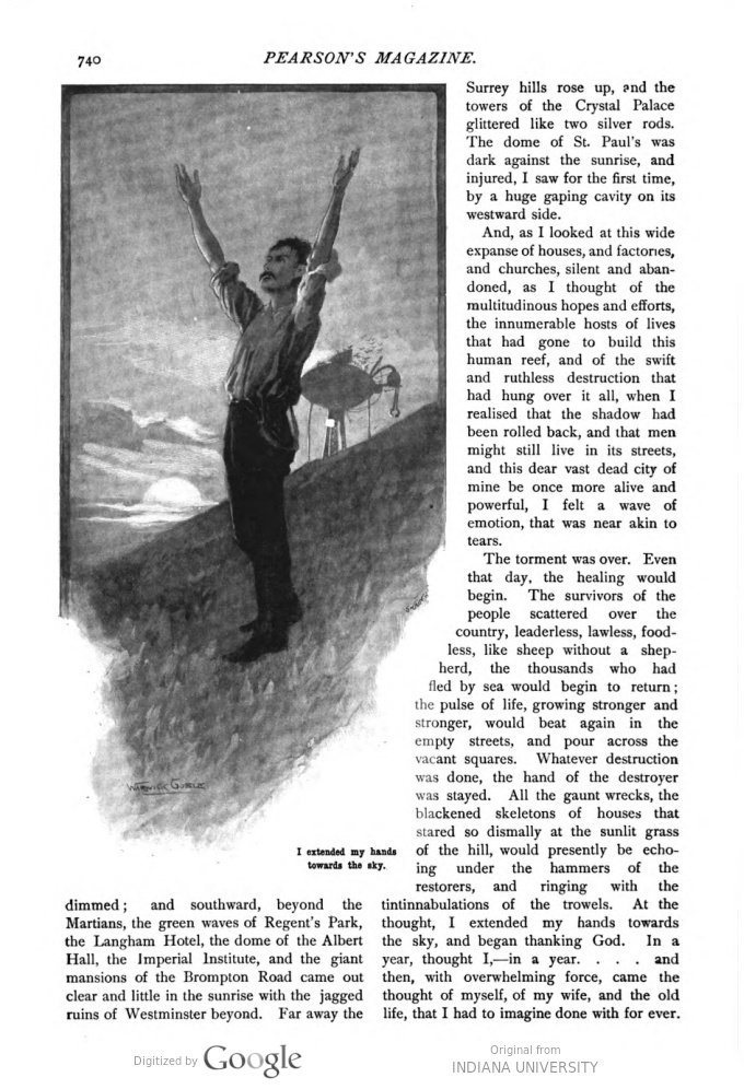 This image is a facsimile of page 740 of the ninth installment of The War of the Worlds as it was published in Pearson's Magazine in December of 1897.