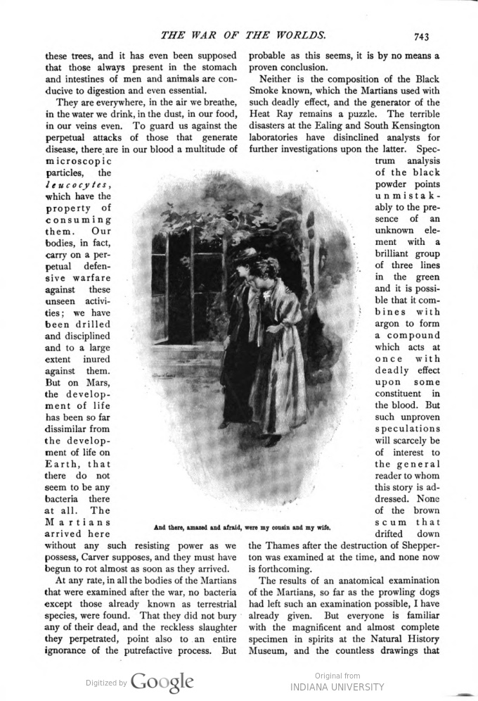 This image is a facsimile of page 743 of the ninth installment of The War of the Worlds as it was published in Pearson's Magazine in December of 1897.
