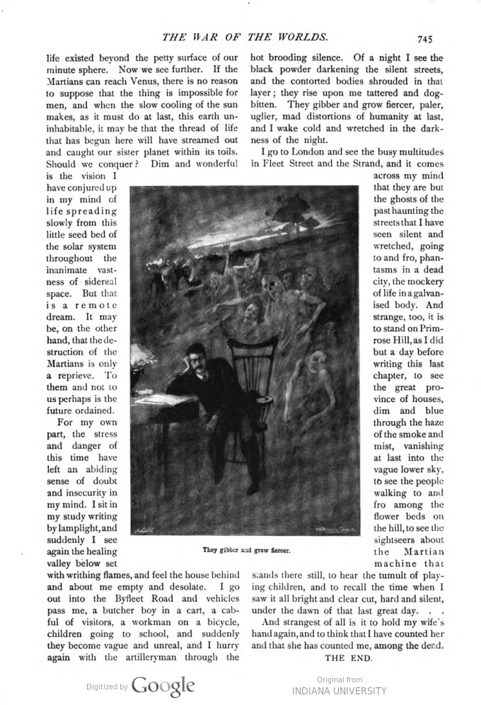 This image is a facsimile of page 745 of the ninth installment of The War of the Worlds as it was published in Pearson's Magazine in December of 1897.